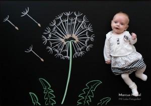 Fotograf aus Wolfach in der Nähe von Haslach und Hausach hat hier ein Kind auf einer Kreidetafel fotografiert. Auf der Tafel wurde eine Pusteblume gezeichnet.