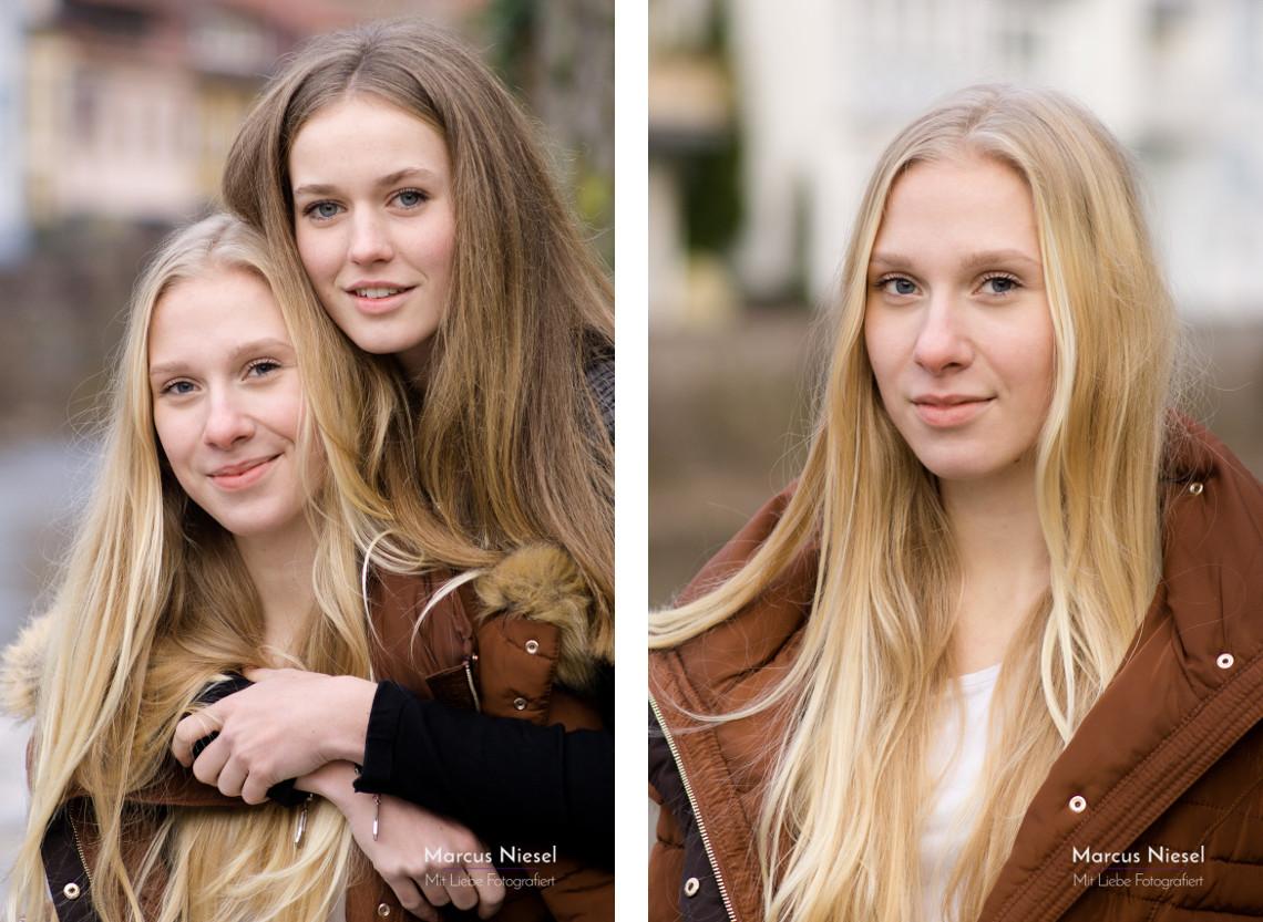 Das beste Freunde Fotoshooting mit Ronja und Eva am Ufer der Kinzig in Wolfach mit Fotograf Marcus Niesel
